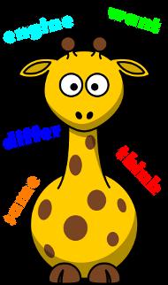 Nauka słówek angielskich - żyrafa otoczona słówkami